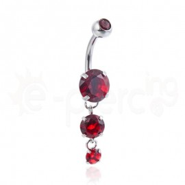 Σκουλαρίκι αφαλού με ζιργκόν κόκκινες πέτρες 59955