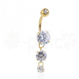 Επίχρυσο σκουλαρίκι αφαλού με ζιργκόν λευκές πέτρες 59956
