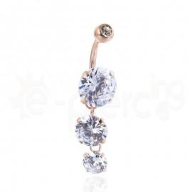 Σκουλαρίκι αφαλού με ζιργκόν λευκές πέτρες 59960