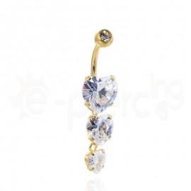 Σκουλαρίκι αφαλού με ζιργκόν καρδιές πέτρες 59961