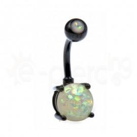 Μαύρο σκουλαρίκι αφαλού Opal 8mm-AB 60018