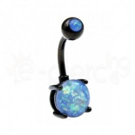 Μαύρο σκουλαρίκι αφαλού Opal 8mm-Blue glitter 60018