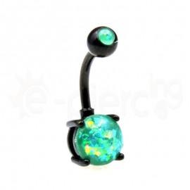Μαύρο σκουλαρίκι αφαλού Opal 8mm-Green 60018