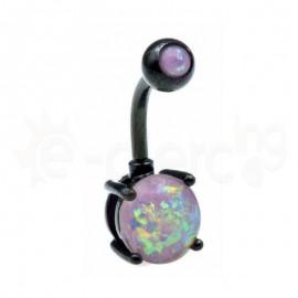 Μαύρο σκουλαρίκι αφαλού Opal 8mm-purple 60019