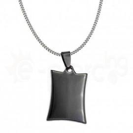 Μενταγιόν ατσάλι 316L  μαύρη πλακέτα 730034
