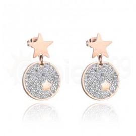 Ροζ σκουλαρίκια από ανοξείδωτο ατσάλι 750177
