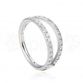 S90031 Double Hinged segment ring with Zircon