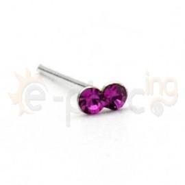 Ασημένιο σκουλαρίκι μύτης με δύο πέτρες 10069