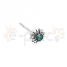 Ασημένιο σκουλαρίκι μύτης γαλάζιο 3mm 10093