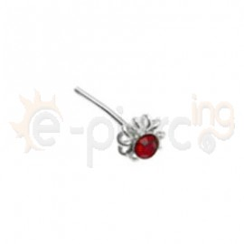 Ασημένιο σκουλαρίκι μύτης με κόκκινο strass 10093r