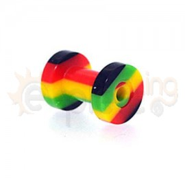 Flesh Tunnel Acrylic Rasta 4mm 10557
