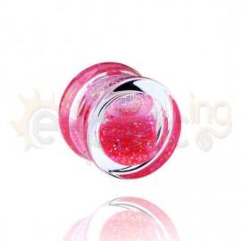 Acrylic plug glitter ροζ 14mm 14558