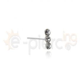Ασημένιο σκουλαρίκι μύτης με 3 πέτρες 15032