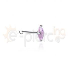 Ζιργκόν ροζ νυχάκι μύτης 2x4mm με μπίλια 15071