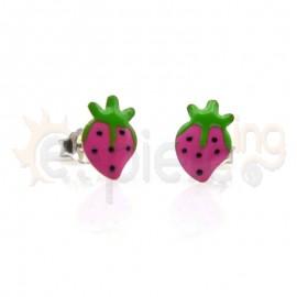 Ασημένια σκουλαρίκια φράουλες Κωδ: 20004