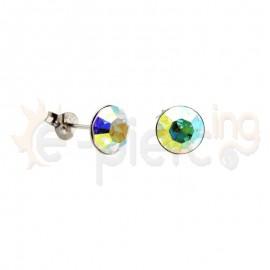 Ασημένια σκουλαρίκια με πέτρες 8mm  Κωδ: 20006