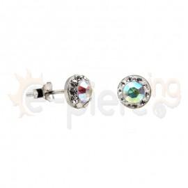 Ασημένια σκουλαρίκια με πέτρες 7mm  Κωδ: 20008