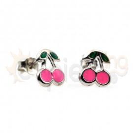 Ασημένια σκουλαρίκια κεράσια