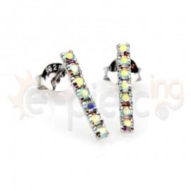 Ασημένια σκουλαρίκια κρεμαστά με κρυσταλλάκια