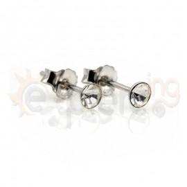 Ασημένια σκουλαρίκια με λευκά κρυσταλλάκια