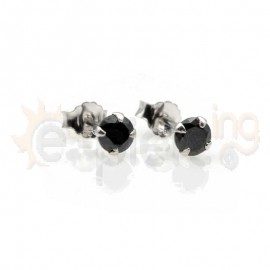 Ασημένια σκουλαρίκια RD με μαύρο ζιργκόν