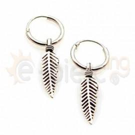 Ασημένια σκουλαρίκια κρικάκια με φτερό