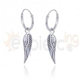 Ασημένια κρικάκια με φτερά αγγέλου 20126