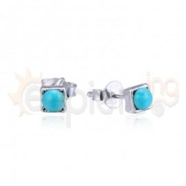 Ασημένια σκουλαρίκια με τυρκουάζ πέτρες 20128