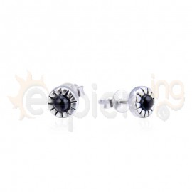 Ασημένια σκουλαρίκια με μαύρη πέτρα 20304