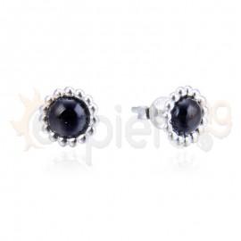 Ασημένια σκουλαρίκια με μαύρη πέτρα 20306