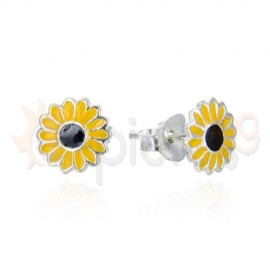 Ασημένια σκουλαρίκια μαργαρίτα 20332
