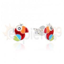 Ασημένια σκουλαρίκια παπαγάλος 20340