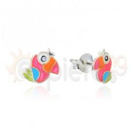 Ασημένια σκουλαρίκια ροζ παπαγάλος 20342