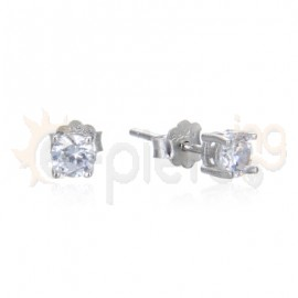 Ασημένια σκουλαρίκια με ζιργκόν 20343