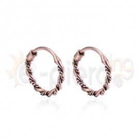 Ασημένια στριφτά ροζ κρικάκια 20408