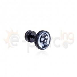 Μαύρο σκουλαρίκι από χειρουργικό ατσάλι 21024
