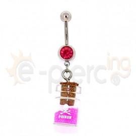 Σκουλαρίκι αφαλού ροζ μπουκάλι 50031