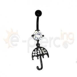 Μαύρο σκουλαρίκι αφαλού ομπρέλα 50037