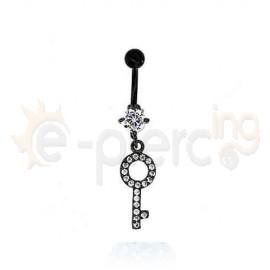 Μαύρο σκουλαρίκι αφαλού κλειδί 50041
