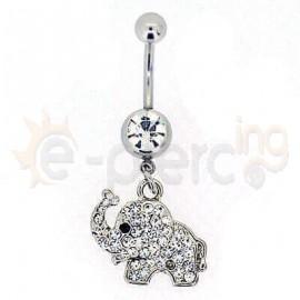 Σκουλαρίκι αφαλού ελεφαντάκι με λευκές πέτρες