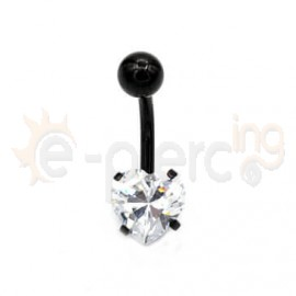 Μαύρο σκουλαρίκι αφαλού με ζιργκόν καρδιά 50504