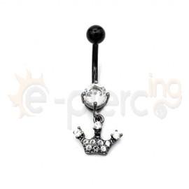 Μαύρο σκουλαρίκι αφαλού κορώνα 50506