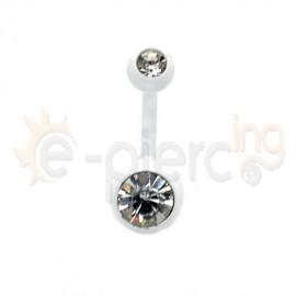 Άσπρο σκουλαρίκι αφαλού με λευκή πέτρα 50511
