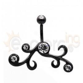 Μαύρο σκουλαρίκι αφαλού με λευκές πέτρες 50575
