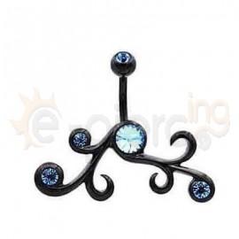 Μαύρο σκουλαρίκι αφαλού με γαλάζιες πέτρες 50577
