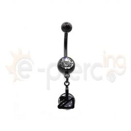 Μαύρο σκουλαρίκι αφαλού από ανοξείδωτο ατσάλι 50593