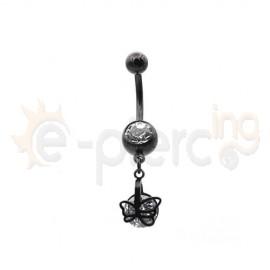 Μαύρο σκουλαρίκι αφαλού Surgical Steel 316L 50596