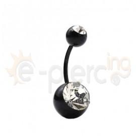 Μαύρο σκουλαρίκι αφαλού 1.2x10mm 50631