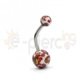 Σκουλαρίκι αφαλού με ακρυλικές μπίλιες 50687