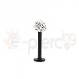 Μαύρο σκουλαρίκι για χείλη με epoxy crystal 50727